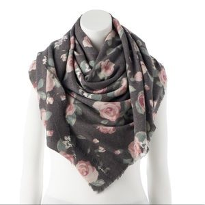 LC Lauren Conrad Floral Square Blanket Scarf